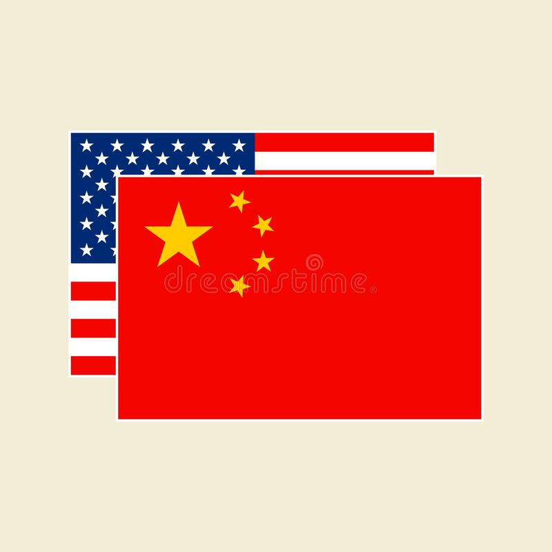 Vector China and USA Flags set stock illustration
