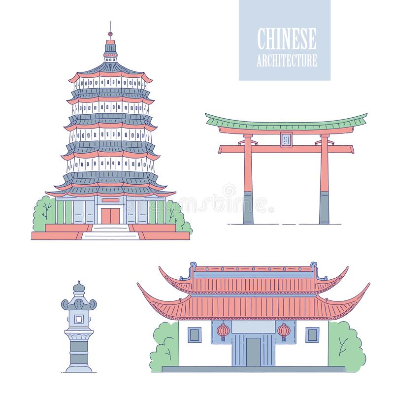 Vector Chinese architecture landmarks. Oriental buildings line art gate pagoda and gazebo. Set different architectural. National tradition of China vector illustration