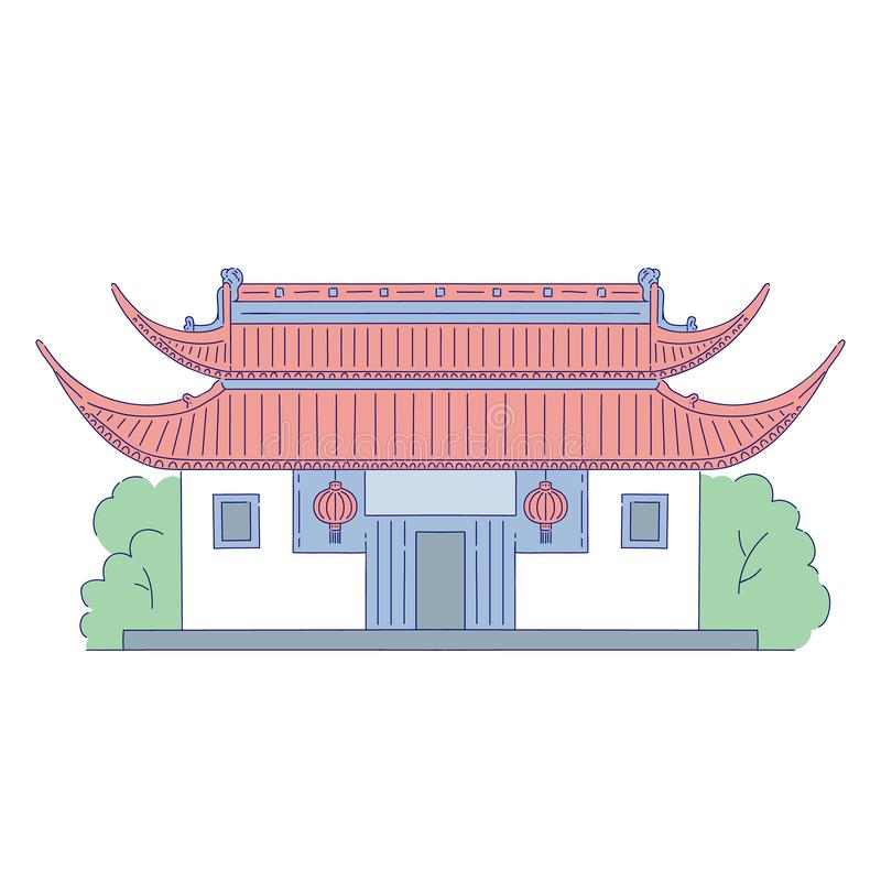 Vector Chinese building architectural landmark with flashlight at the door. Oriental architecture line art traditional. Historic national of China isolated on royalty free illustration