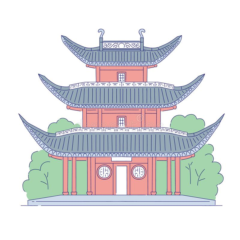 Vector Chinese building architectural landmark. Oriental architecture line art traditional historic national of China. Vector Chinese building architectural royalty free illustration