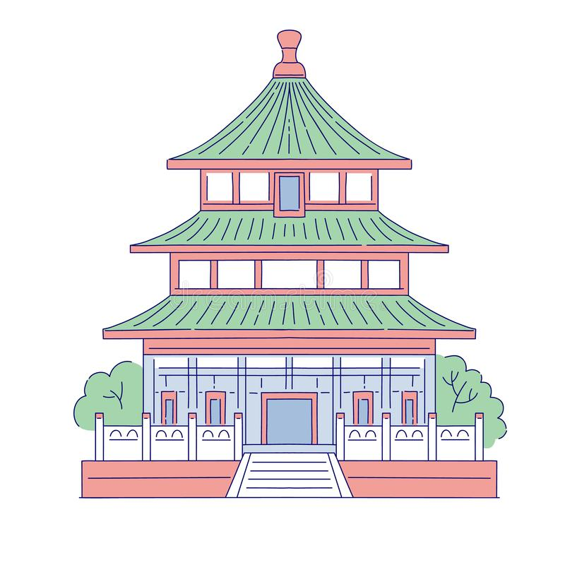 Vector Chinese building architectural landmark. Oriental architecture line art traditional historic national house of. China royalty free illustration