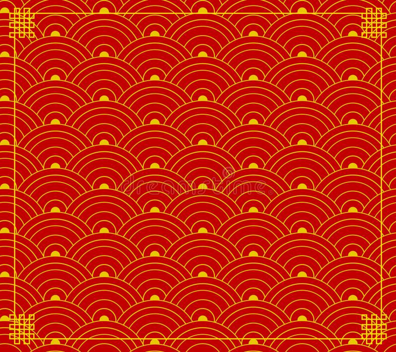 Vector Chinese Ornament, Wave Shapes, Circles Background, Red-Gold Colors, Backdrop with Corners. royalty free illustration