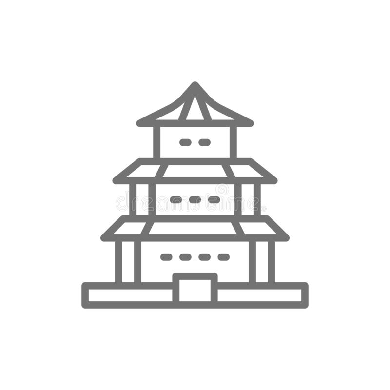 Vector Chinese temple, traditional church line icon. Symbol and sign illustration design. Isolated on white background royalty free illustration