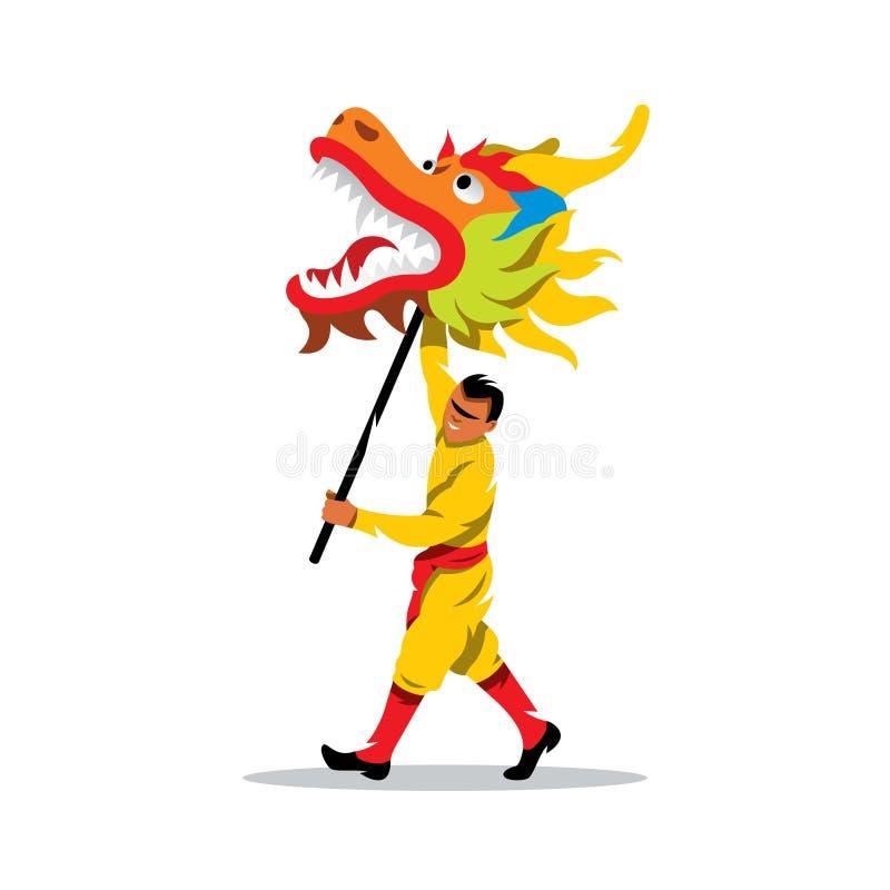 Vector chinesisches Drache- und Manntanzen im traditionellen Festivalzeichen Soldat mit einer Gewehr und seinem Kommandanten mit  stock abbildung
