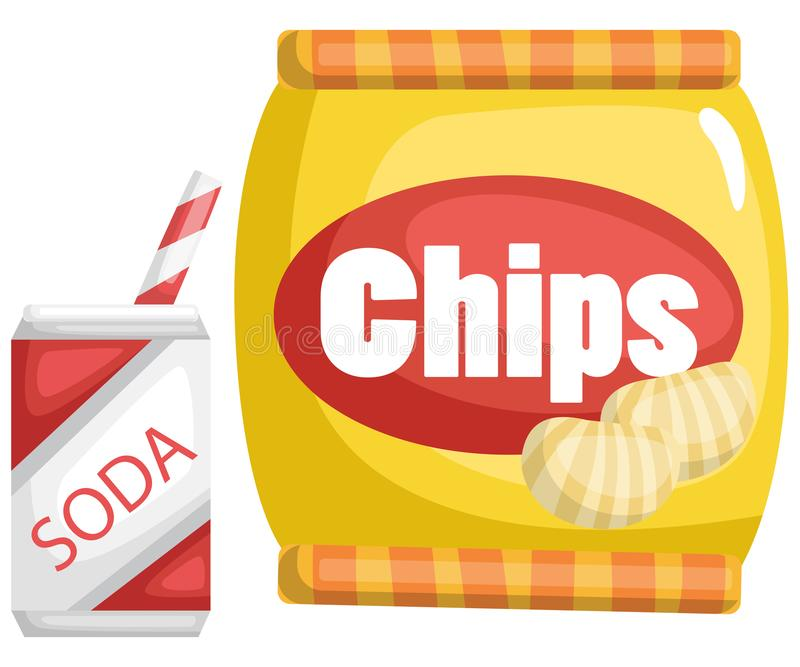 A vector of chips and a soda royalty free illustration