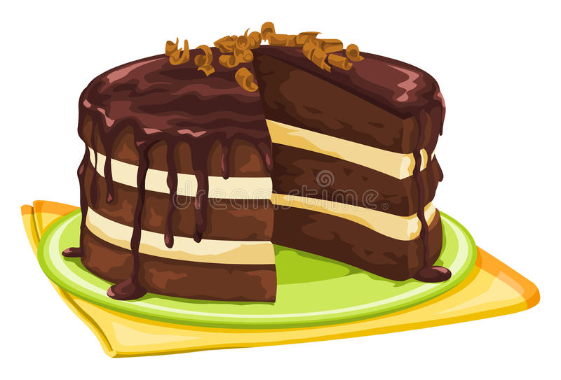 Vector of chocolate cake with missing slice. Vector illustration of chocolate cake with missing slice royalty free illustration