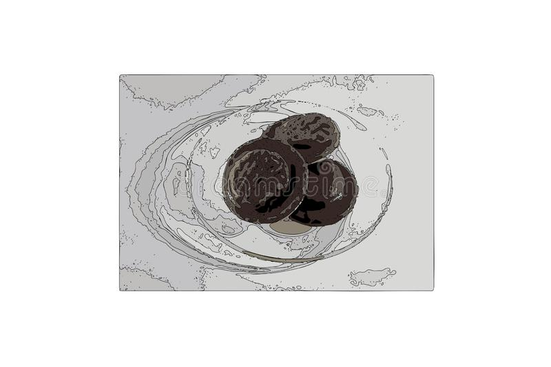 Vector chocolate chip cookie on a plate. Sweet dessert. Tasty food. Illustration royalty free illustration