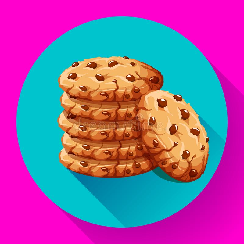 Vector chocolate crumbs chips icon. Realistic homemade choco chip cookies vector illustration. stock illustration