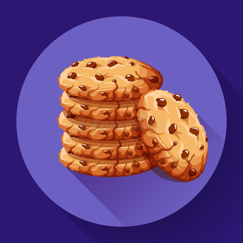 Vector chocolate crumbs chips icon. Realistic homemade choco chip cookies vector illustration. royalty free illustration