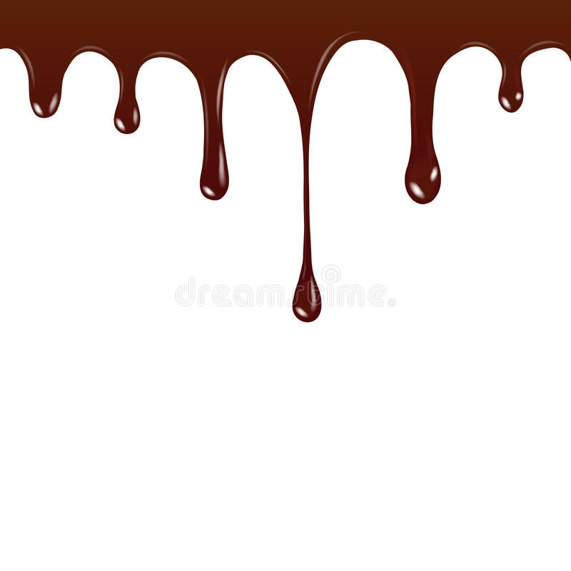 Vector Chocolate syrup drip pattern isolated on a white background. Chocolate streams.  stock illustration