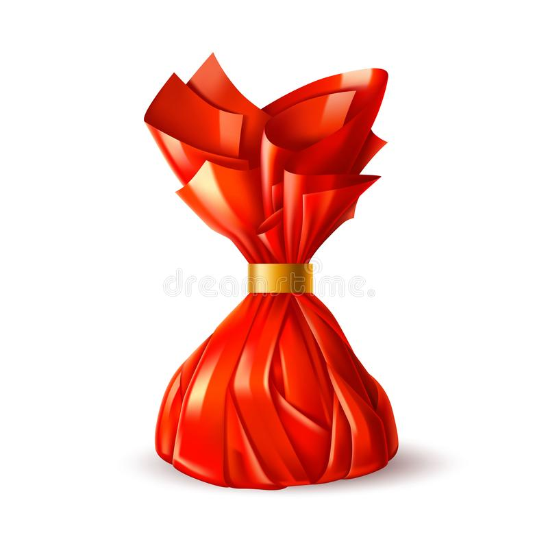 Vector chocolate truffle candy in red wrapping royalty free illustration