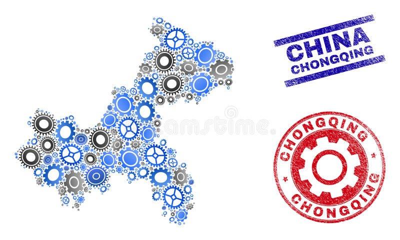 Vector Chongqing City Map del mosaico de los mecánicos y sellos del Grunge ilustración del vector