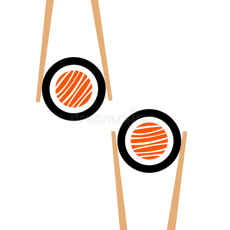 Vector chopsticks hHolding sushi roll frame stock illustration
