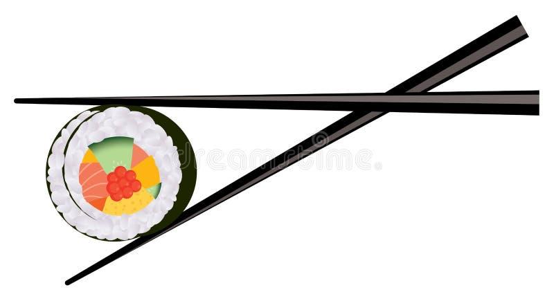 vector chopsticks holding sushi vector illustration