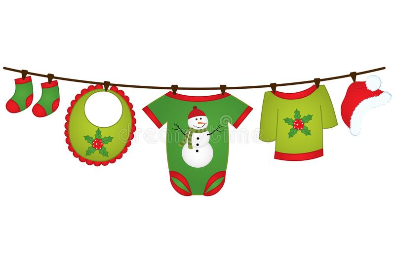 Vector Christmas baby clothes hanging on the line. Vector design element for baby shower, invitation, scrapbook, cards. Vector bab. Y clothing. Christmas baby stock illustration