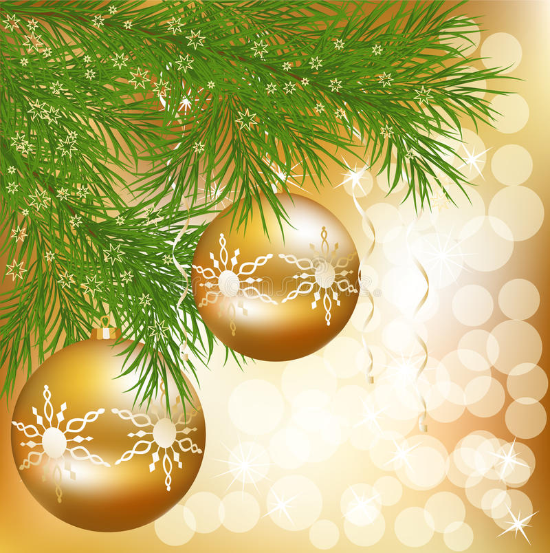 Free Vector Christmas Ball With Green New Year Tree Royalty Free Stock Photos - 17101478