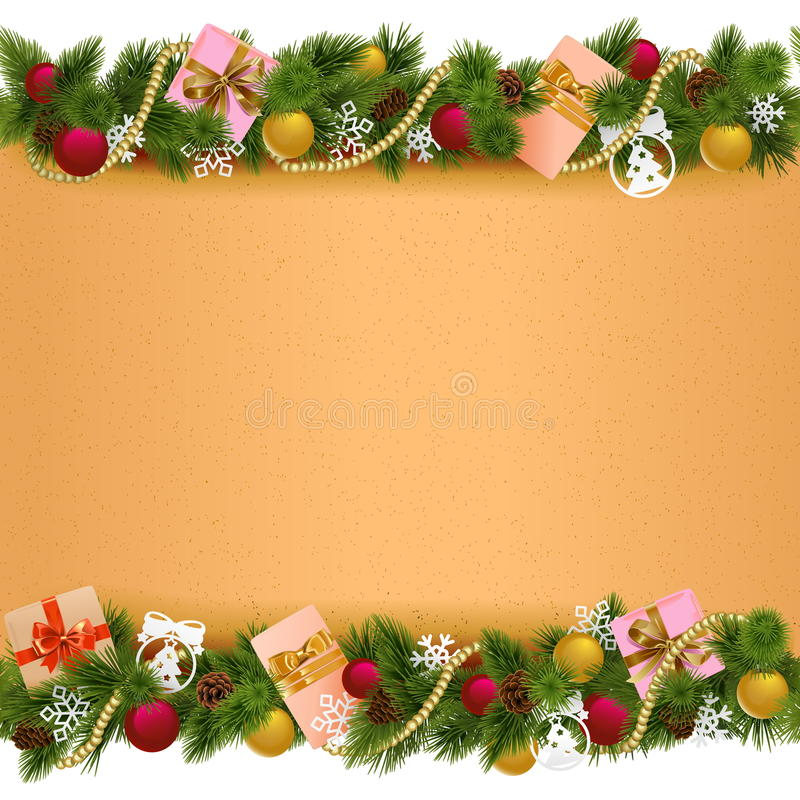 Vector Christmas Border with Paper Scroll stock illustration