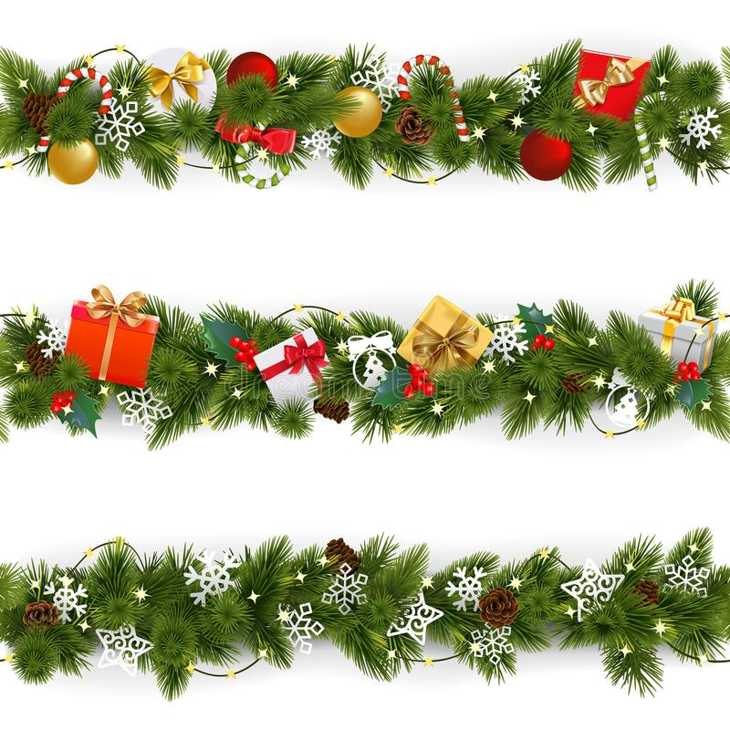 Free Vector Christmas Border Set With Garland Stock Image - 105393051