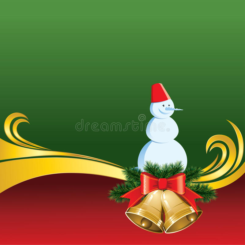 Download Vector Christmas Card With Bells And Snowman Stock Vector - Image: 21917054