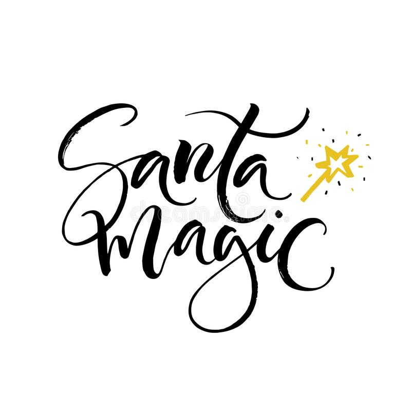 Hand drawn Santa magic lettering. Perfect Xmas design for greeting cards and invitations. royalty free stock images