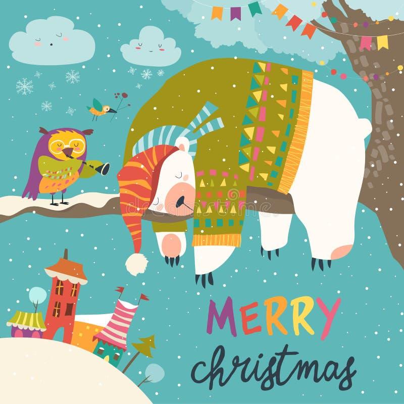 Vector Christmas card with sleeping polar bear and little owl stock illustration
