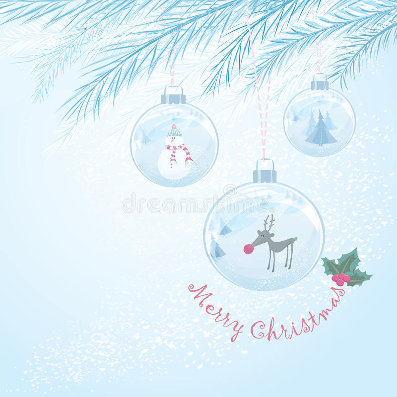 Vector Christmas card with three baubles vector illustration