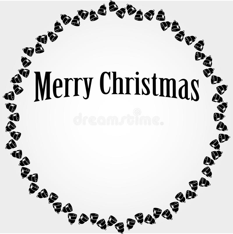 Vector Christmas circular frame with black bells stock illustration