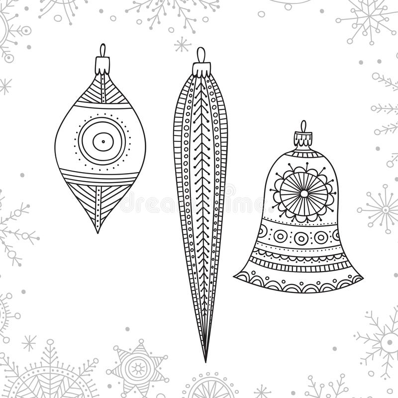 Vector Christmas coloring tree decoration baubles line art. Vector Christmas tree decoration baubles line art in boho style wit ornament. Can be printed or used vector illustration