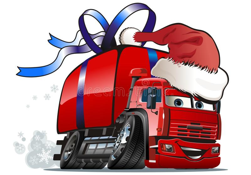 Vector Christmas delivery truck royalty free stock photo