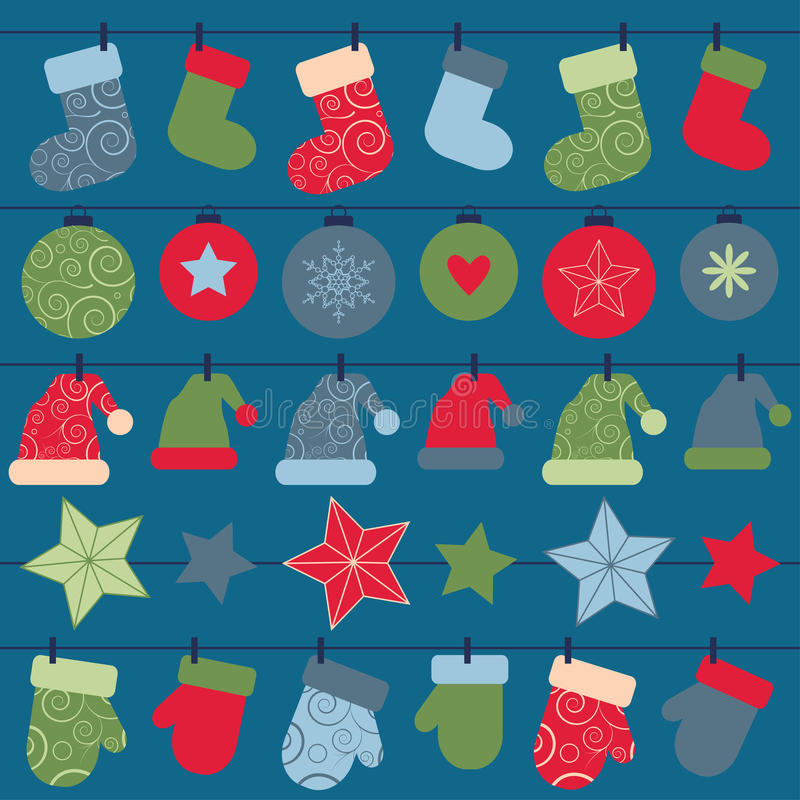 Vector christmas design decorations hanging on rope stock illustration