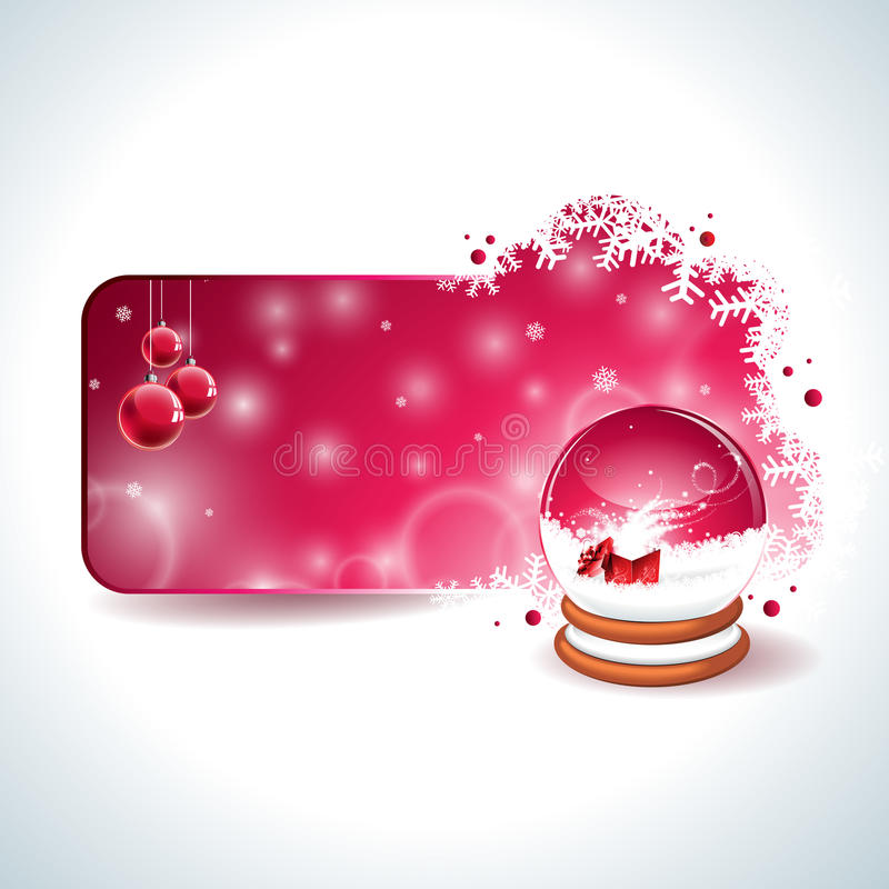 Vector Christmas design with magic snow globe and red glass ball on snowflakes background. stock illustration