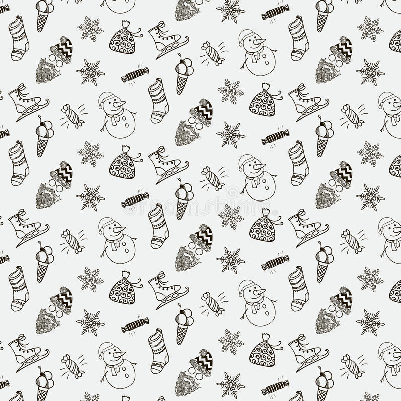 Vector Christmas Doodles Seamless Background Pattern vector illustration