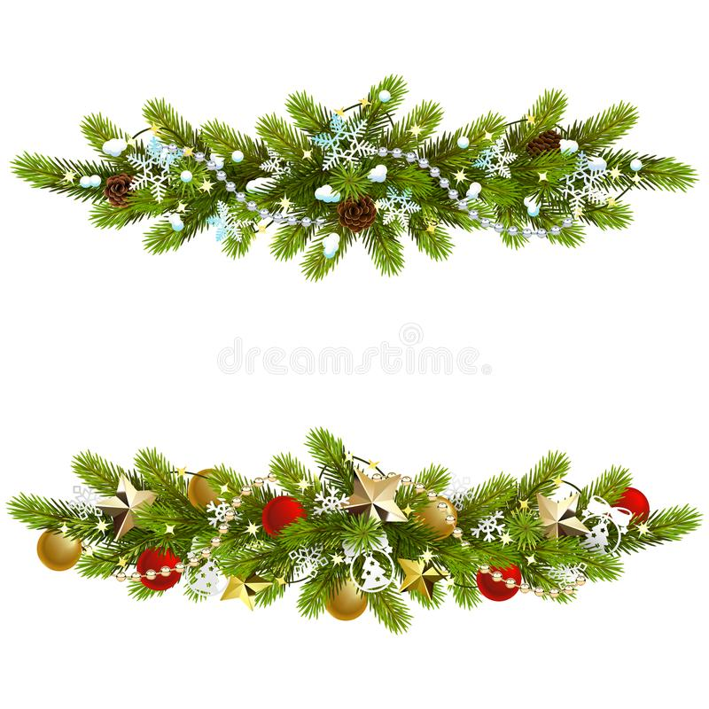 Vector Christmas Fir Decoration with Beads stock image
