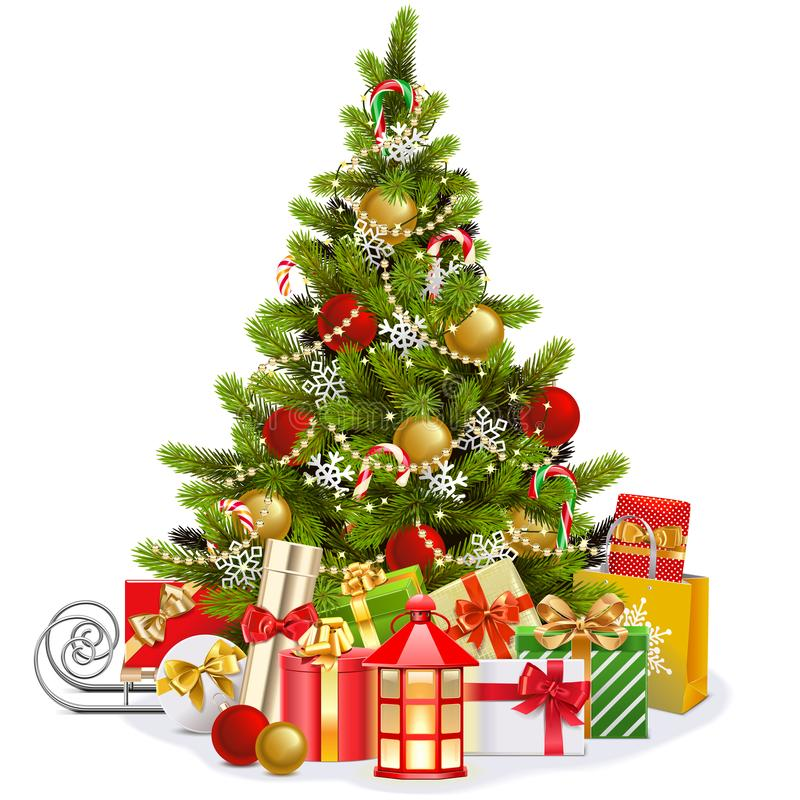 Vector Christmas Fir Tree with Lollipops royalty free stock photos