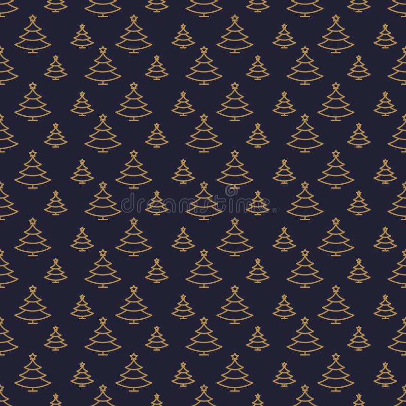 Vector christmas fir tree seamless pattern gold line style royalty free illustration