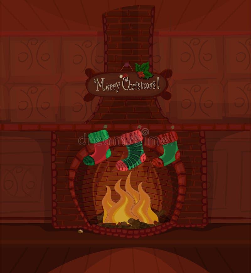 Vector Christmas fireplace royalty free stock photos