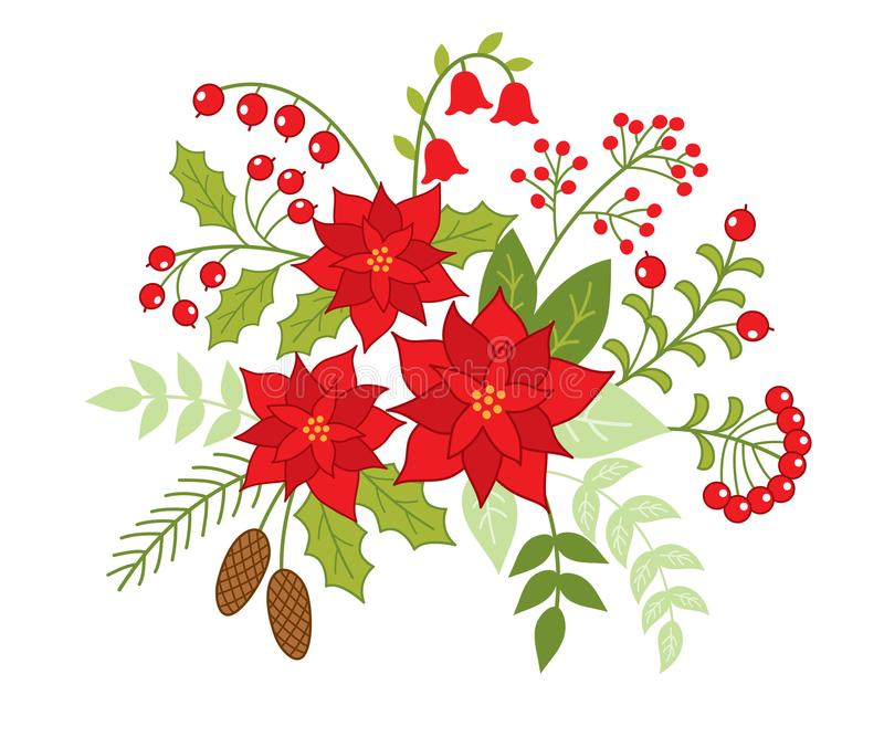 Vector Christmas Floral Bouquet with Poinsettia and Red Berries royalty free illustration