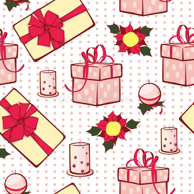 Vector Christmas gifts boxes and candles seamless repeat pattern background. Can be used for holiday giftwrap, fabric stock illustration