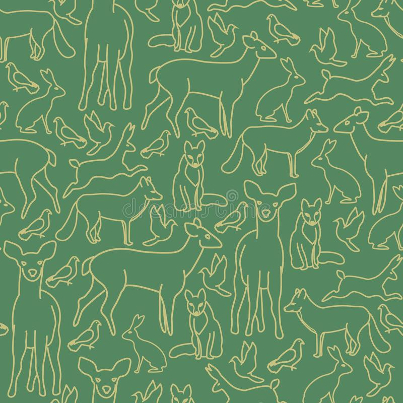 Vector Christmas Gold Deer Fox Rabbits Doves in Gold on Green Seamless Repeat Pattern stock illustration