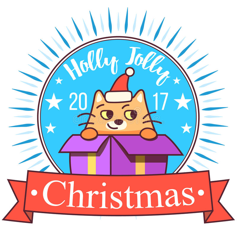 Vector Christmas greeting card in badge shape . Fat cat sitting in gift box. Bright happy colors. Cute design in cartoon stock illustration