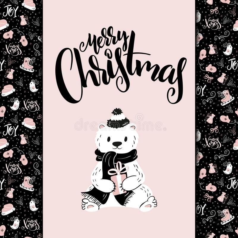 Vector christmas greeting card with hand lettering phrase - merry christmas - and bear on christmas decor background vector illustration