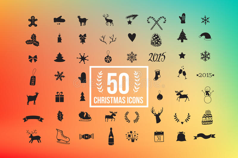 Vector christmas icon set, winter silhouette with colorful background 50 icons. stock illustration