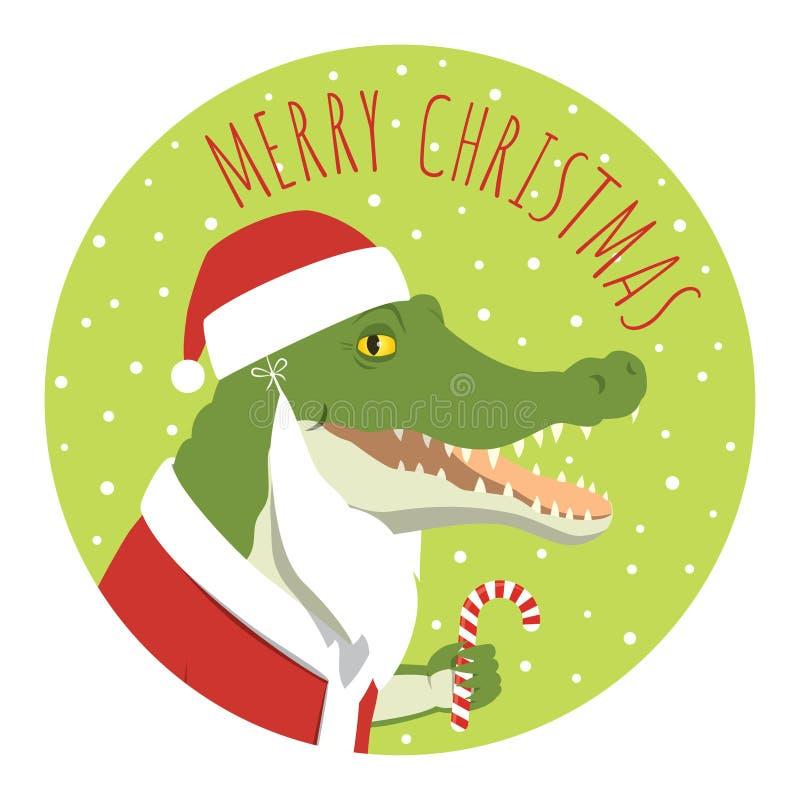 Crocodile santa claus round sticker stock illustration