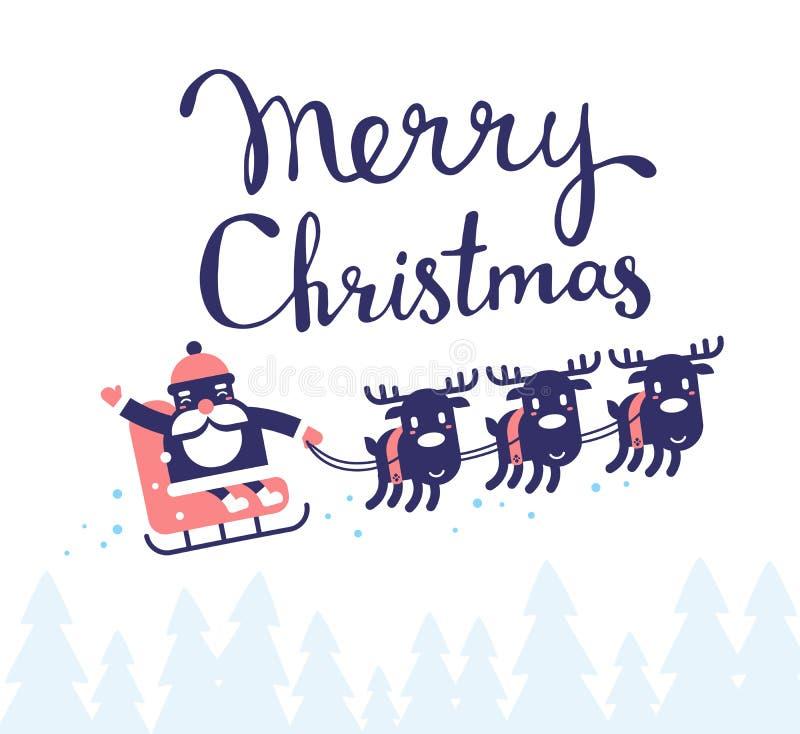 Vector christmas illustration of flying santa claus on sleigh an stock illustration