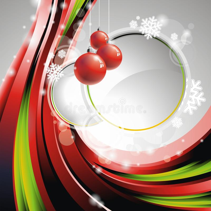 Download Vector Christmas Illustration With Red Glass Balls Stock Vector - Illustration of gift, elements: 16607150