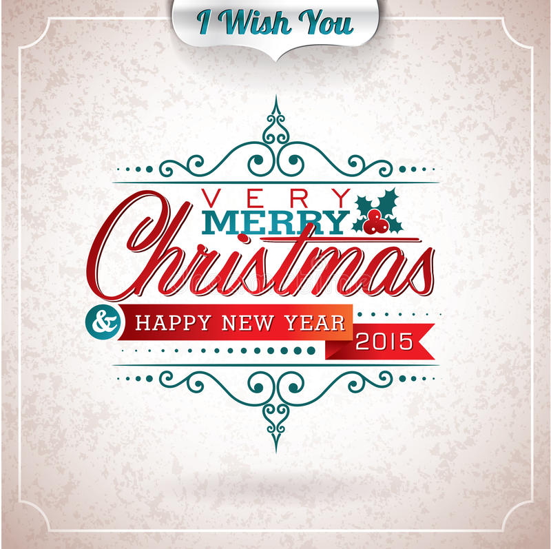 Vector Christmas illustration with typographic design on grunge background. royalty free illustration