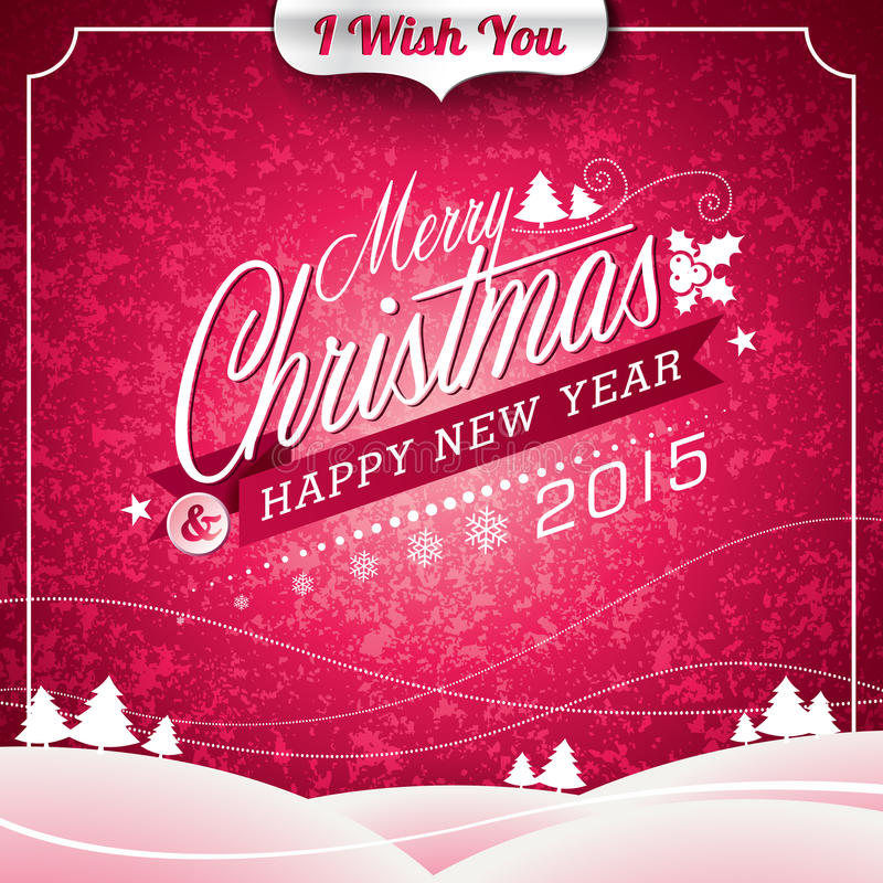 Vector Christmas illustration with typographic design on landscape background royalty free illustration