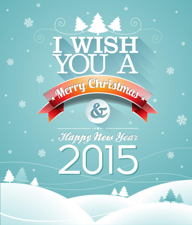 Vector Christmas illustration with typographic design and ribbon on snowflakes background. vector illustration