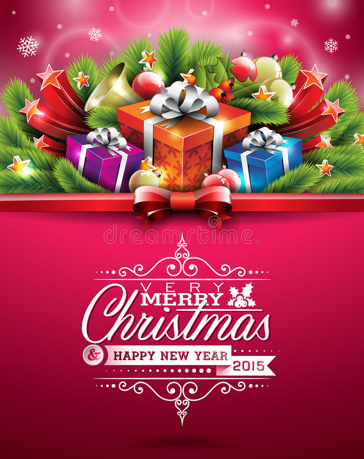 Vector Christmas illustration with typographic design and shiny holiday elements on red background. vector illustration