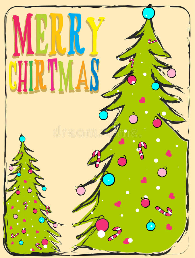 Vector Christmas illustration with typographic design and shiny vector illustration